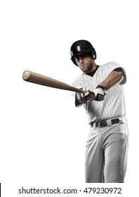 Baseball Player with a white uniform on a white background.