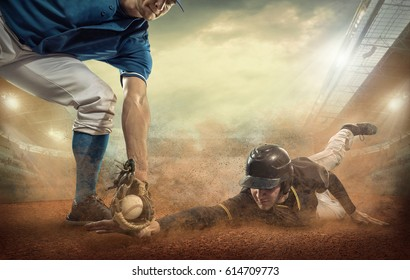 Baseball players in game action under stadium light. Sport activity people playat sunny day.