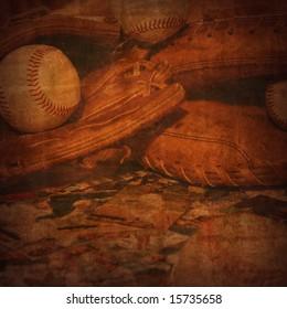 Baseball rendering on old vintage background.