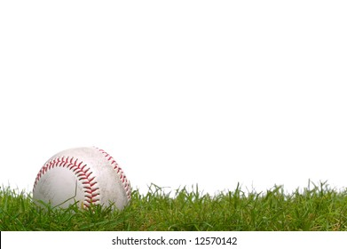 A baseball sitting in the grass, shot against a white background.