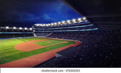 baseball stadium with fans under roof tribune view, sport theme 3D illustration