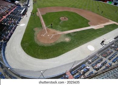 Baseball stadium getting ready for game