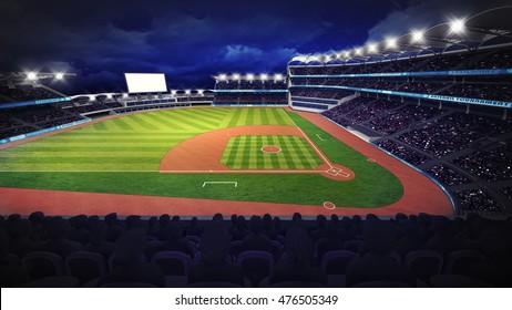 baseball stadium with green grass playground, sport theme 3D illustration