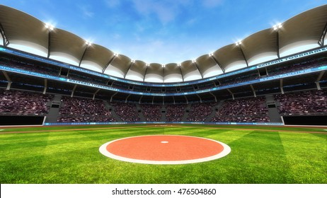 baseball stadium playground with blue sky, sport theme 3D illustration