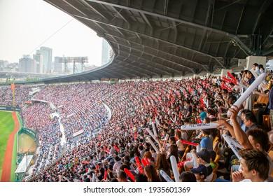 Baseball stadium scenery before covid-19. Jamsil Baseball Stadium in Seoul, South Korea, full of people