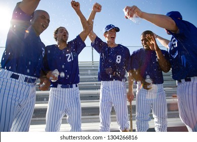 Baseball team celebrating victory and cheering