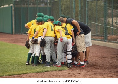 Baseball team in a huddle