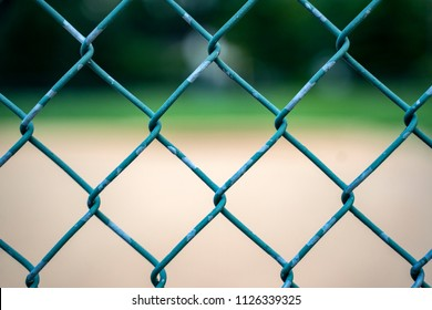 Baseball Wire Fence Close-Up