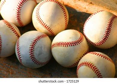 Baseballs on dugout steps
