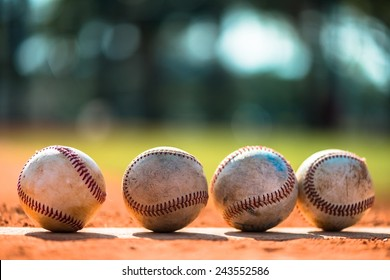 Baseballs on Pitchers Mound