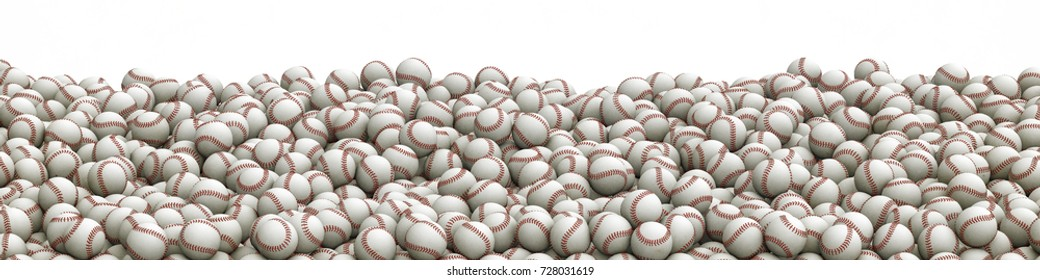 Baseballs pile panorama / 3D illustration of panoramic view of hundreds of baseballs