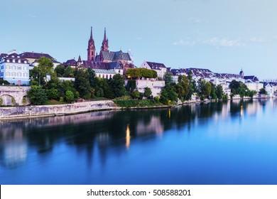 Basel architecture along Rhine River. Basel, Basel-Stadt, Switzerland.