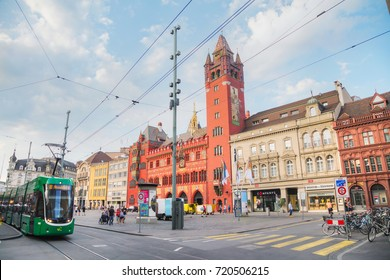 BASEL - AUGUST 25: Marktplatz with the Rathaus on August 25, 2017 in Basel, Switzerland.