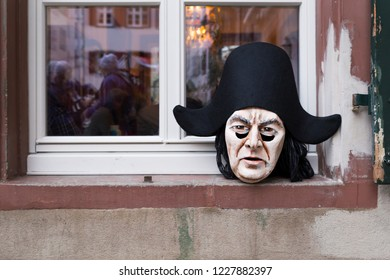 Basel carnival 2018. Andreasplatz, Basel, Switzerland - February 19th, 2018. Close-up of a single handmade beautiful carnival mask laying on a window sill