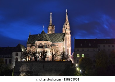 Basel  Cathedral dominating the River Rhine in Switzerland
