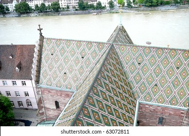 Basel Cathedral Multicolored Roof and River