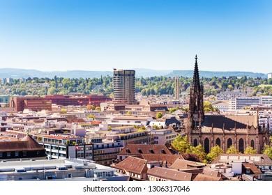 Basel cityscape and Elisabethenkirche church view, Switzerland