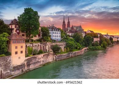 Basel. Cityscape image of Basel, Switzerland during dramatic sunset.