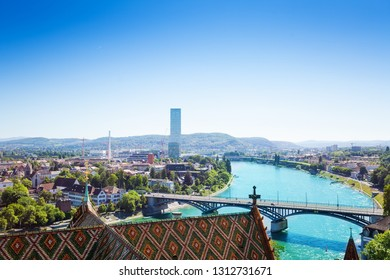Basel cityscape viewed from Minster cathedral roof