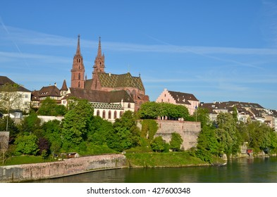 The Basel Minster, main cathedral in Basel, Switzerland