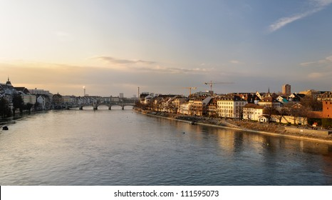 Basel river bank, Switzerland.