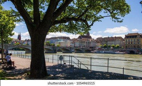 BASEL, SSWITZERLAND - JUNE 03, 2017: The River Rhine, buildings along the river in the city of Basel. Basel is a city on the Rhine River in the northwestern part of Switzerland. Europe.