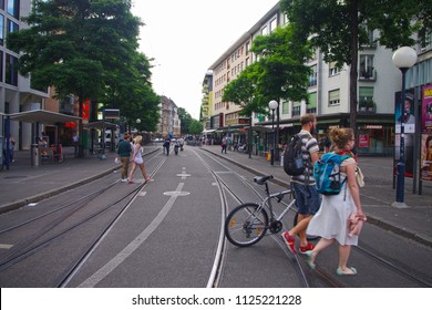 Basel, Switzerland - 18 May 2018 - A view from the streets of Basel.