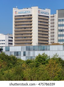 Basel, Switzerland - 27 August, 2016: Novartis building. Novartis International AG is a Swiss multinational pharmaceutical company based in the city of Basel, Switzerland.