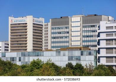 Basel, Switzerland - 27 August, 2016: buildings of Novartis, view from Dreirosenbruecke bridge. Novartis International AG is a Swiss pharmaceutical company based in Basel.