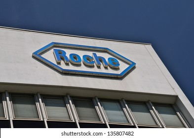 BASEL, SWITZERLAND - APR 17: Roche headquarters on April 19, 2013 in Basel, Switzerland. Rocheis a Swiss global pharma company that operates worldwide producing pharmaceuticals and diagnostics.