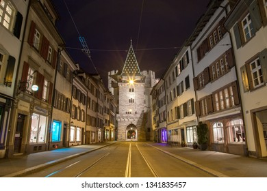 Basel, Switzerland - April 14, 2017: The historic Spalentor city gate which was part of the citys fortification