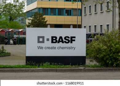 Basel, Switzerland - April 23, 2018. Basf sign in front of its manufacturing facility in Schweizerhalle, outside of Basel.