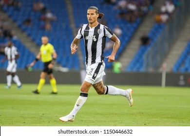 Basel, Switzerland - August 1, 2018: Player of PAOK Aleksandar Prijovic in action during the UEFA Champions League match between PAOK vs Basel played at St. Jakob-Park Stadium