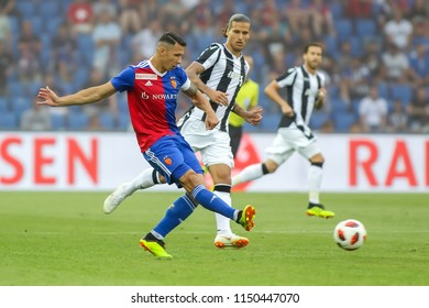 Basel, Switzerland - August 1, 2018:  Player of Basel Marek Suchy in action during the UEFA Champions League match between PAOK vs Basel played at St. Jakob-Park Stadium