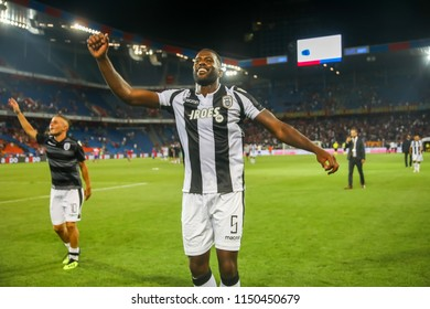 Basel, Switzerland - August 1, 2018: Player of PAOK Fernando Varela in action during the UEFA Champions League match between PAOK vs Basel played at St. Jakob-Park Stadium