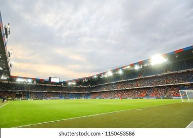 Basel, Switzerland - August 1, 2018: Interior view of the full at St. Jakob-Park Stadium during the UEFA Champions League match between PAOK vs Basel