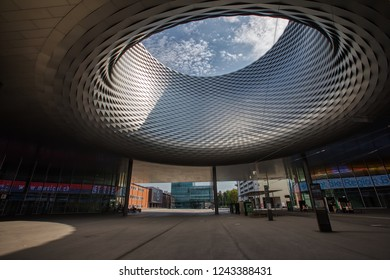 Basel, Switzerland - August 1, 2018: Basel Exhibition Square Metal Hole