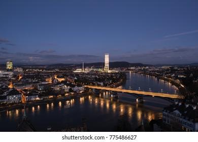 Basel switzerland cityscape, view from minster, dezember 2017