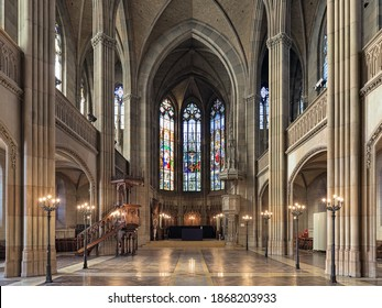 BASEL, SWITZERLAND - DECEMBER 14, 2019: Interior of Church of St. Elisabeth (Offene Kirche Elisabethen). The church was built in 1857-1864 in the Swiss Neo-Gothic style by design of Ferdinand Stadler.