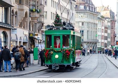BASEL, SWITZERLAND - DECEMBER 20, 2015: Christmas Tram driven by Santa Claus in Basel , Switzerland