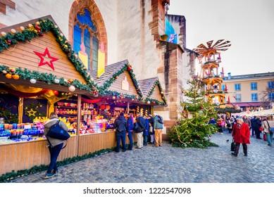 Basel, Switzerland - December 2017. Christmas fairytale at Barfüsserplatz, Swiss Confederation.