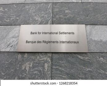 Basel / Switzerland – December 8, 2018: Sign with the name of the Bank for International Settlements - BIS - in Basel, Switzerland.
