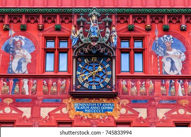 Basel, Switzerland. Detail of the historic town hall.