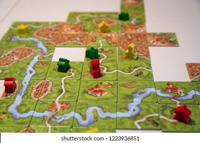Basel, Switzerland - February 05, 2017: Close up of the popular board game Carcassonne