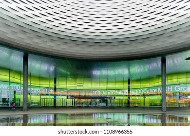 BASEL, SWITZERLAND - FEBRUARY 14, 2016: Architecture of the Exhibition Center in Basel Switzerland.