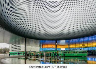 BASEL, SWITZERLAND - FEBRUARY 15, 2015: Architecture of the Exhibition Center in Basel Switzerland.