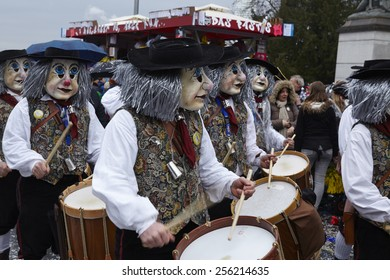 BASEL, SWITZERLAND - FEBRUARY, 23. The Carnival at Basel (Basle - Switzerland) in the year 2015. The picture shows some costumed people on February 23, 2015.