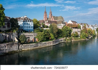 Basel switzerland with the historical minster and rhine river