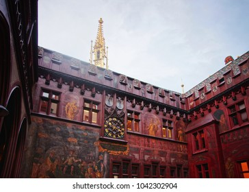 Basel, Switzerland - January 3, 2014: Fragment of the interior at Town Hall in Basel. Basel is a third most populous city in Switzerland. Basel Town Hall is an old building in Marktplatz