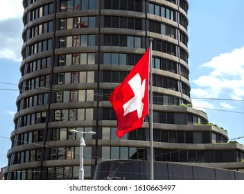 Basel, SWITZERLAND - July 1, 2019: Bank for International Settlements BIS, the tower building of the international financial institution owned by 60 central banks, operating in Basel since 1903.
